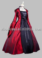 Gothic Black and Red Euro Court Period Dress Witch Cosplay Costume with Hood