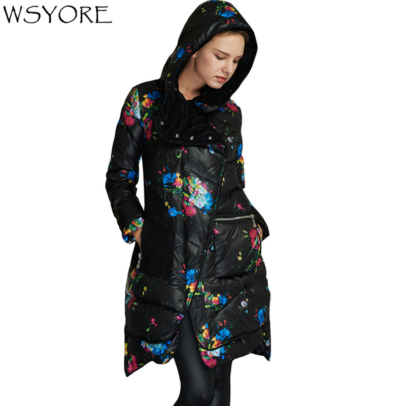 WSYORE Fashion Plus Size Women Duck   Down   Long Jacket 2018 New Winter Casual Hooded Long Sleeve Printed   Down     Coats   Female NS542