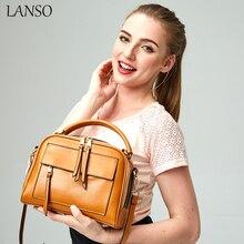 2016 neue frauen Reißverschluss Italien Leder Handtasche Vintage Design Boston Tasche England Stil Hochwertige Umhängetaschen LANSO Marke