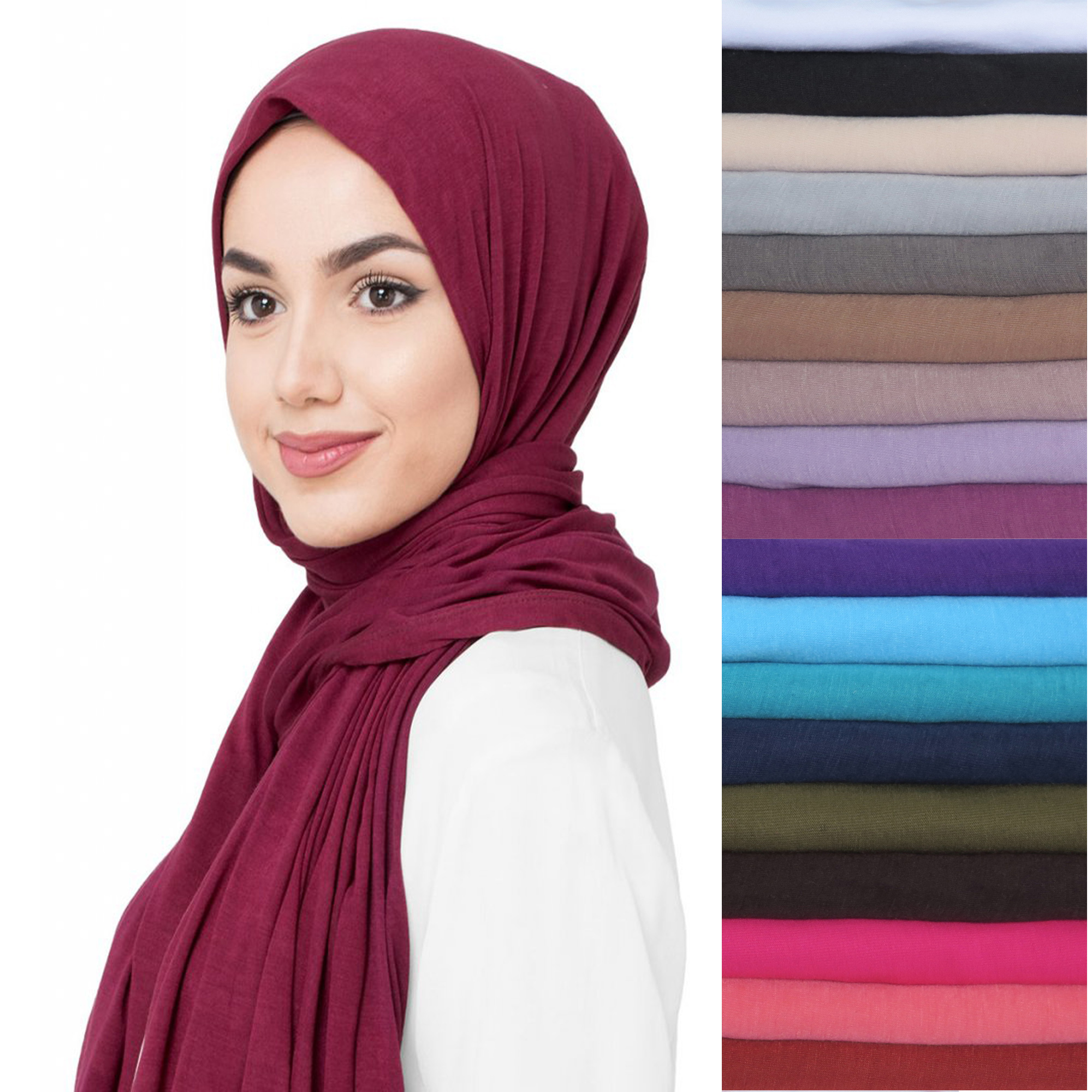 10pcs/lot Premium Jersey Stretchy Fabric Muslim Hijab Head Scarf Shawl Wrap Turban Solid Colors