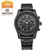 MEGIR 2008 модные мужские кварцевые наручные часы мужская роскошный бизнес водонепроницаемые часы бесплатная доставка