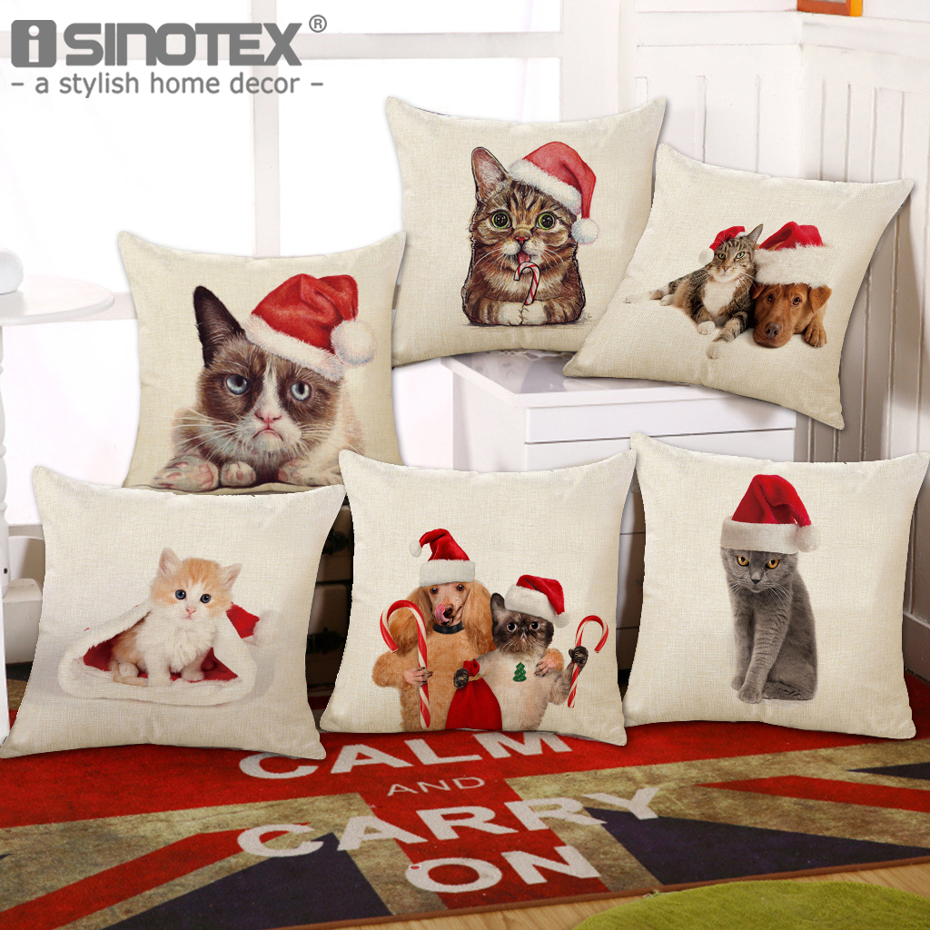 Dogs and Cats Pillow Cushion Cover Home Decoration New Year Gift Bedroom Sofa Cotton Linen Throw Pillow Case Christmas Decor