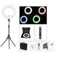 Anillo de luz LED Yidoblo FC-480 RGB para Control de aplicaciones, luz led para vídeo, belleza, piel de uñas, fotografía, película, estudio, lámpara de anillo + trípode + bolsa