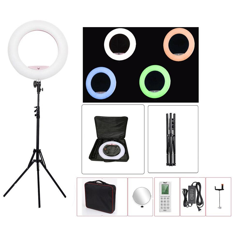 Yidoblo FC-480 RGB Controle APP Anel de Luz de Vídeo LED lâmpada Anel de Luz Fotografia de Estúdio de Cinema de pele Da Beleza do prego + tripé + saco