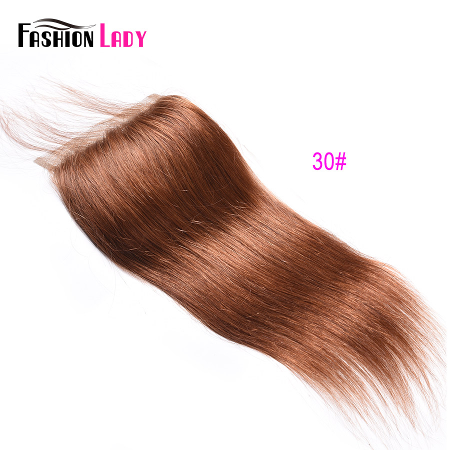 Модные женские Pre-крашеные бразильские волосы синтетическое закрытие волос прямые волосы кружево синтетическое закрытие волос 4x4 дюйма#2 каштановые человеческие волосы - Цвет: #30