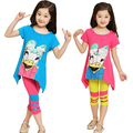 2015 new 3-8 years children's clothing Donald Duck pattern girls 1 sets 100% cotton summer girls clothing sets