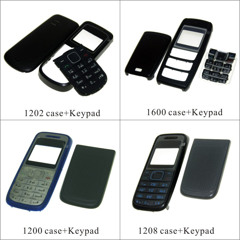 For <font><b>Nokia</b></font> <font><b>1202</b></font> 1600 1200 1208 <font><b>Housing</b></font> Front Faceplate Frame Cover Case+Back cover/battery door cover+Keypad image