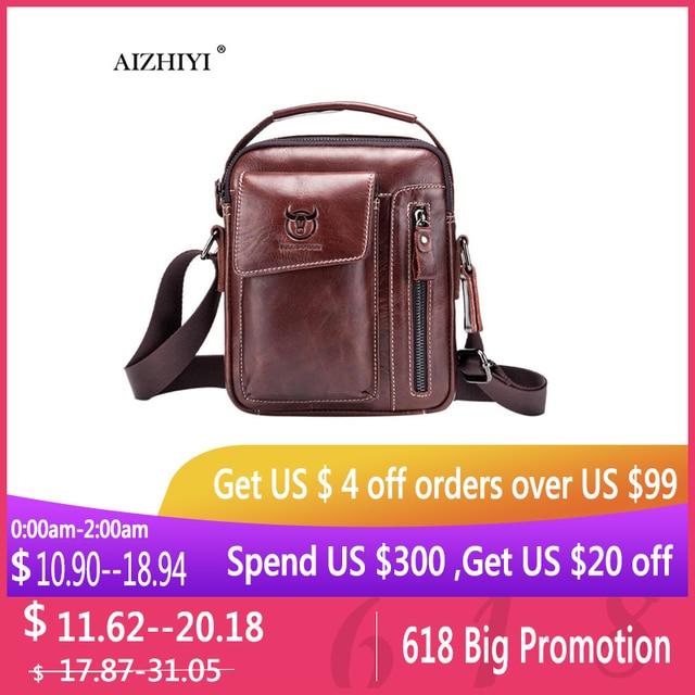 Bull Captain Men Genuine Leather Messenger Crossbody Bag Casual Fashion Male Sling Bag Business Handbag Shoulder Famous Brand