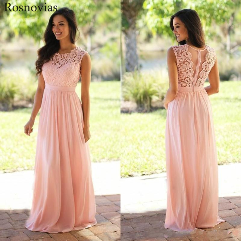 Long Blush Pink Country   Bridesmaid     Dresses   2019 Jewel Floor Length Lace Appliques Cheap Chiffon Wedding Guest Party Gowns Custom