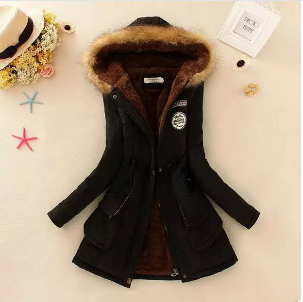 Winter Jacket Women 2019 New Winter Womens Casual Outwear Military Hooded Coat Fur Coats basic jackets    92154