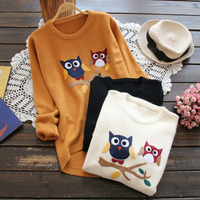 Girls Sweet Owl Pattern Soft Cotton Knitting Sweater Women Solid Long Sleeve Outwear Pullover Casual Tricot Sweaters Coats X052