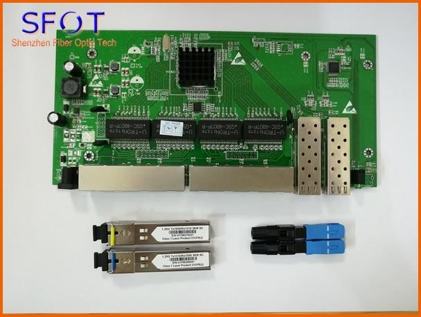 2 pcs/lot, 2 Ports SFP + 8 Ports RJ45 POE inverse Commutateur conseil (sans gestion web), ensemble avec SFP 3 km et rapide connecteur