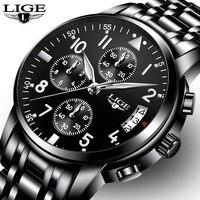 Relogio Masculino Top Brand Luxury LIGE Mens Watches Fashion Business Quartz Watch Men Sport Waterproof Clock