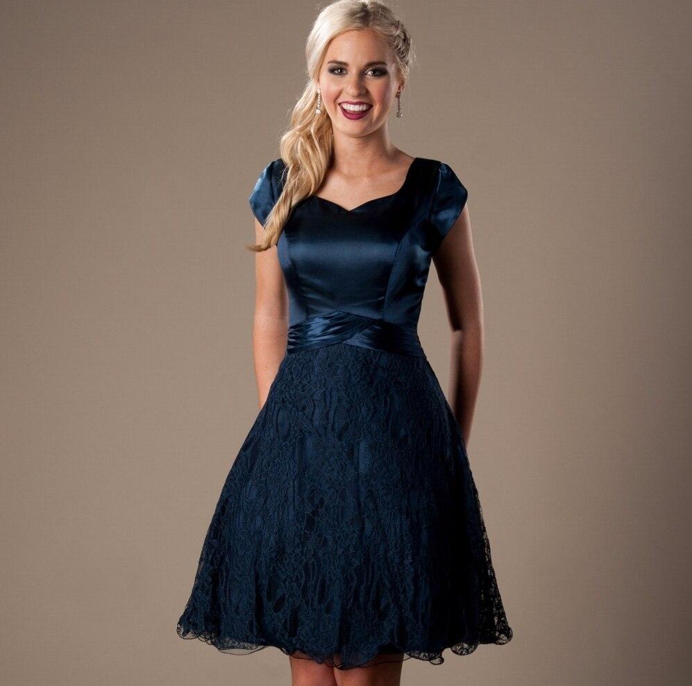 Online get cheap mint satin vintage dress aliexpress mint lace satin short modest bridesmaid dresses with cap sleeves vintage lace temple brides maid gowns ombrellifo Gallery