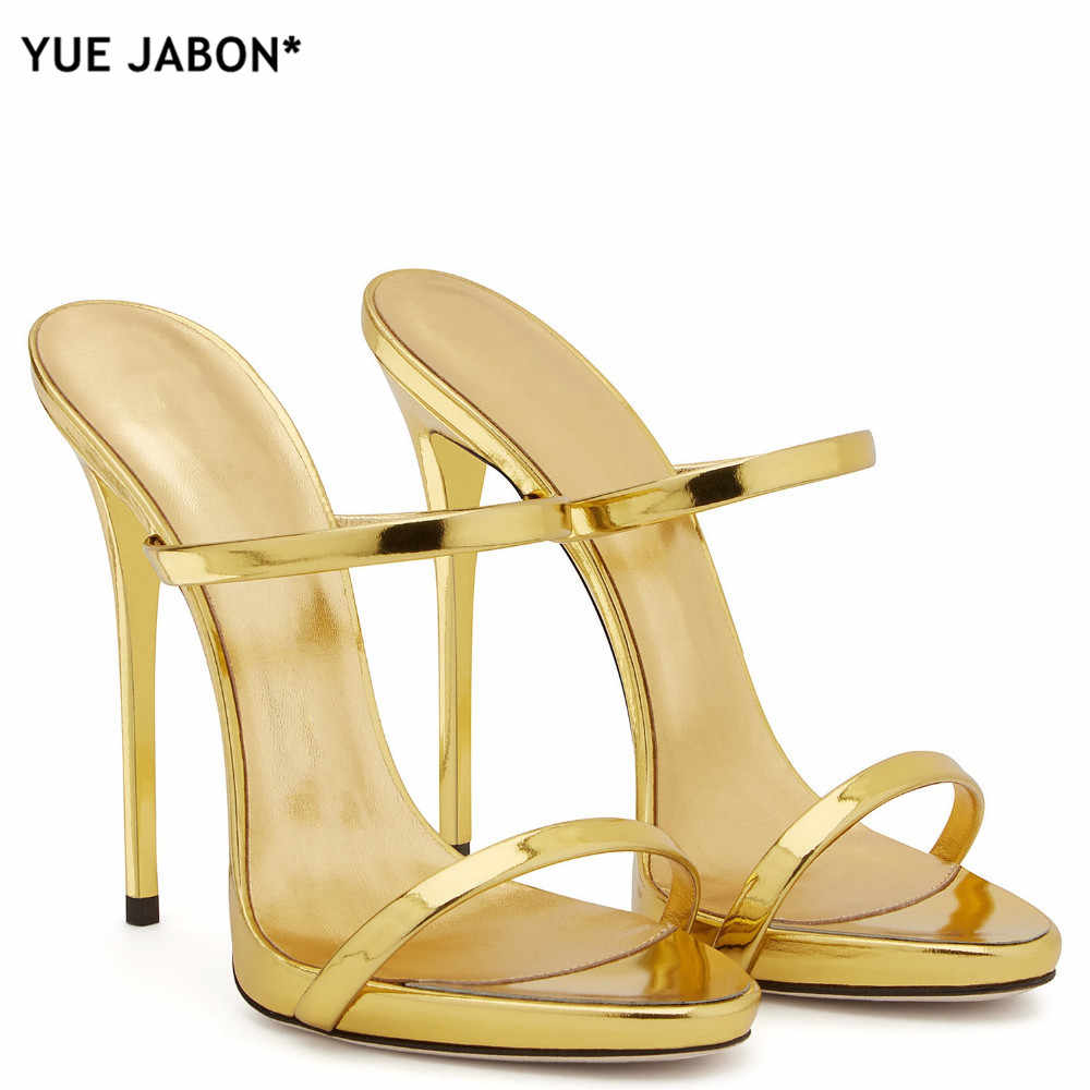 ... 2018 Women Two Straps High Heels Rose Gold Patent Leather Strappy Sandals  Ladies Cute Slippers Sexy ... fef4b4cfc288