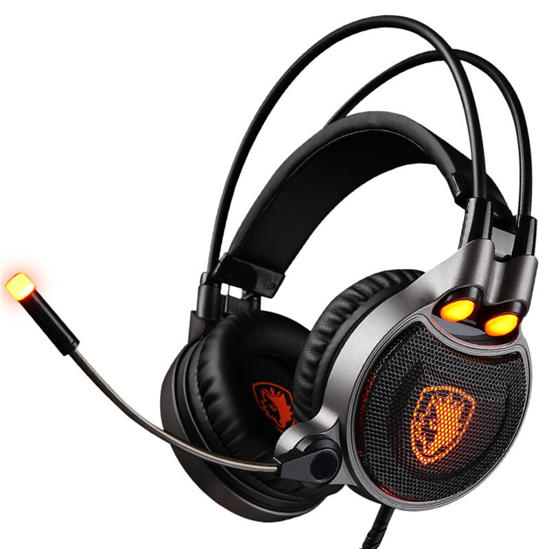SADES R1 Gaming Headphones USB 7.1 Surround Sound Vibration Over-ear Computer Headset with LED Breathing Light for LOL WOW CF CS