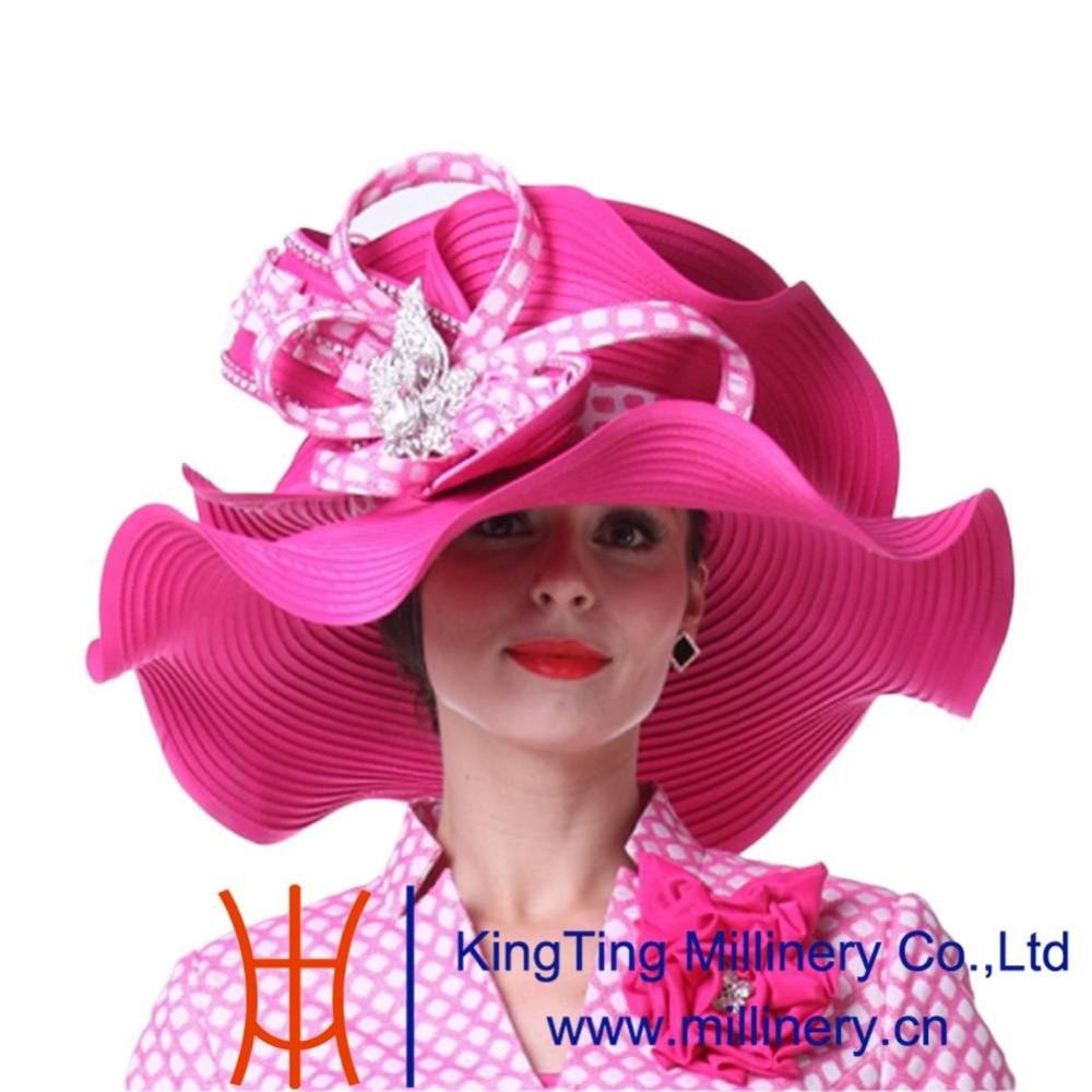 Kueeni Women Hats Big Wide Brim Church Hat Rose Red Color Elegant Lady  Fedoras Church Party Fashion Lady Wedding Dress Fedoras-in Fedoras from  Apparel ... d1a9b5578ae9