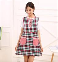 Fashion Style Linen Aprons Colorful Plaid Pattern Apron With Pocket Vest Style Aprons For Woman Apron
