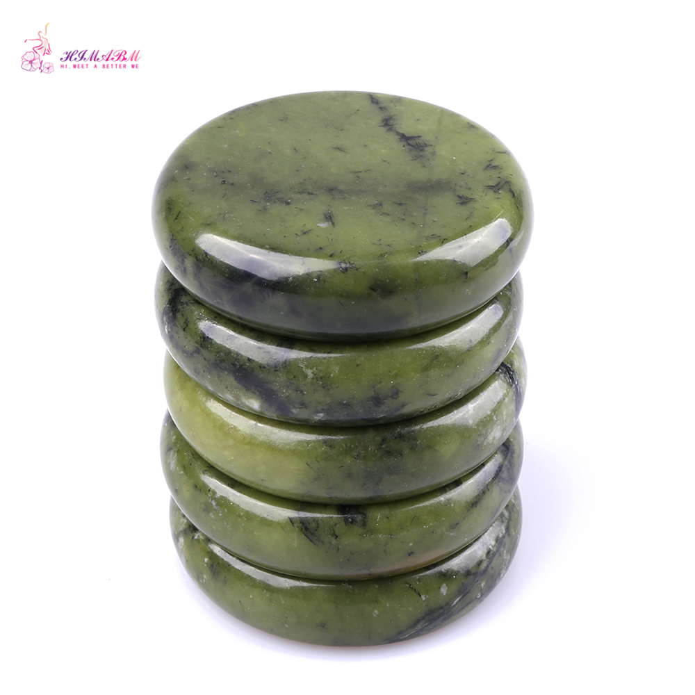 HIMABM 5(8cm) +5(7.5cm) stones Natural Green Xiuyan Jade Hot Spa Basalt Stone Massage