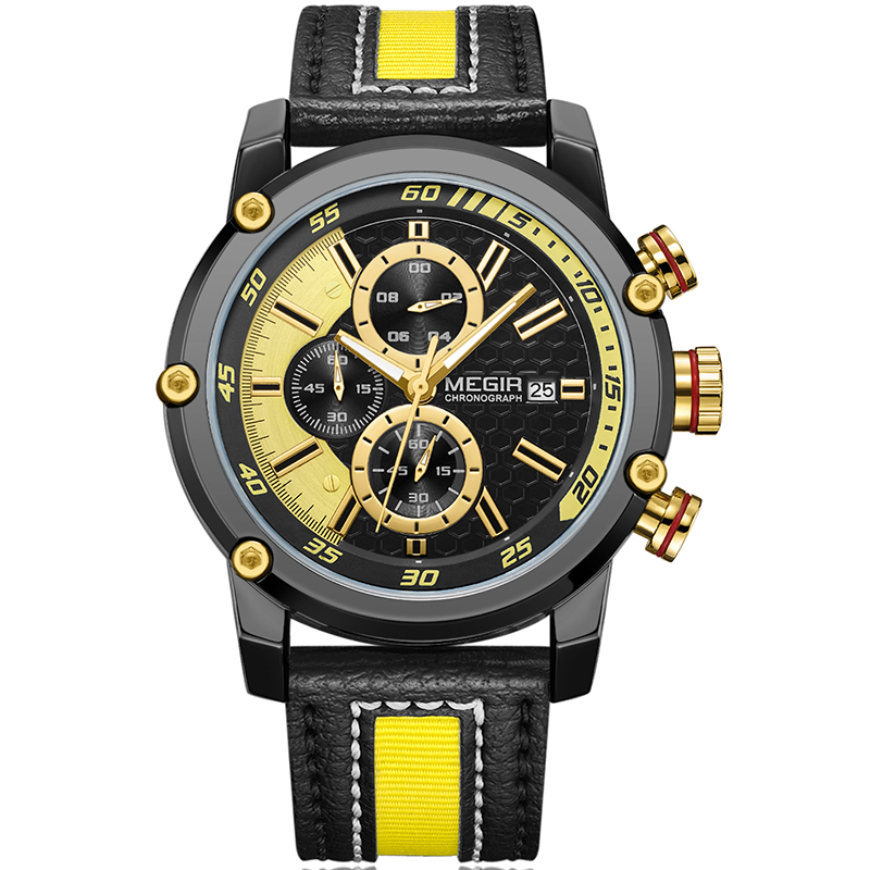 MEGIR Mens Watches Top Brand Luxury Waterproof 24 hour Date Quartz Watch Man Leather Sport Wrist Watch Men Waterproof Clock цена 2017
