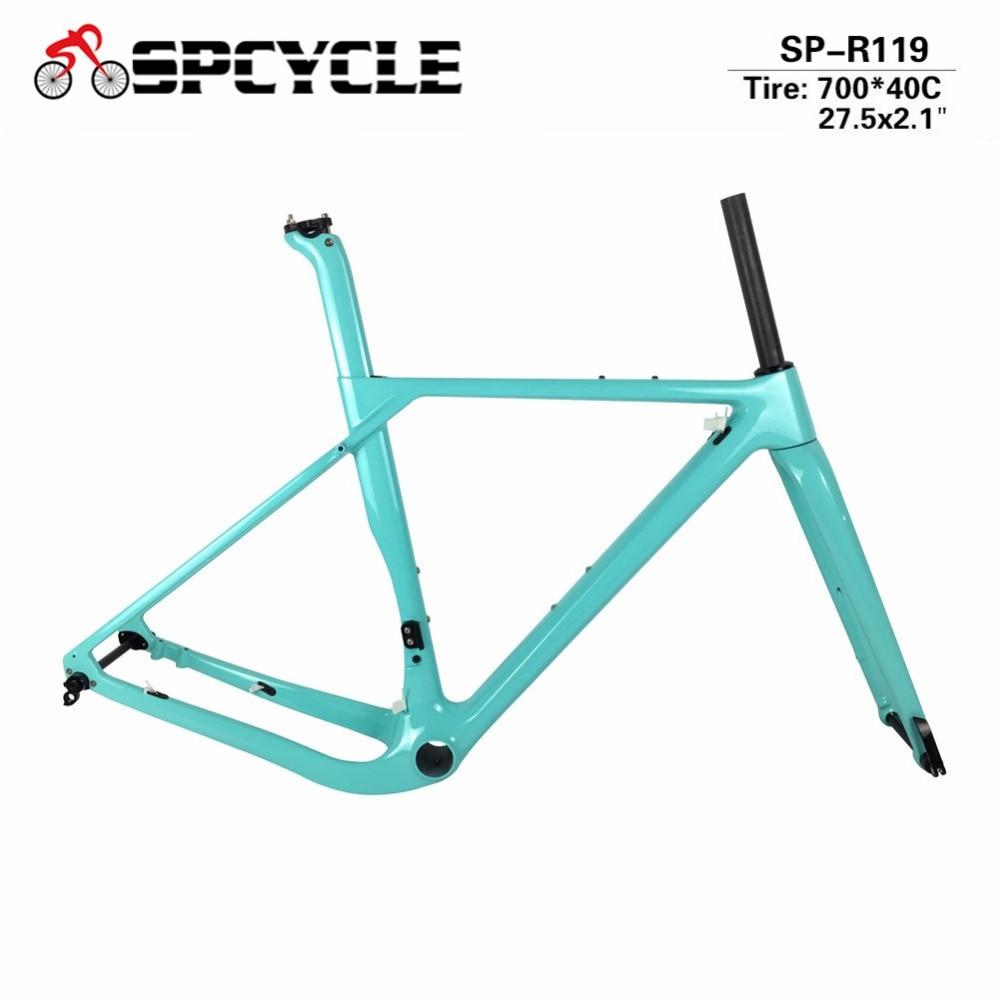 Spcycle Full Carbon Gravel Road Bicycle Frame Disc Brake Aero Carbon Cyclocross Bike Frameset Thru Axle Front 100*15 Rear 142*12