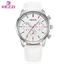 KEZZI кожаный ремешок Часы Для мужчин Элитный бренд Для женщин часы для любителей моды Романтический кварцевые наручные часы платье пара подарок Часы