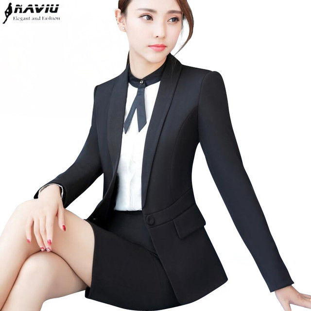 Autumn new fashion women skirt suit formal long sleeve slim blazer and skirt  office ladies plus size work wear Navy blue black 71ead75af