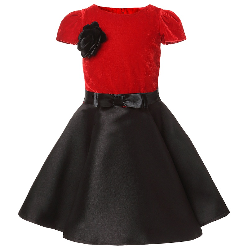 Girls High-grade wine red Dress Christmas festival Princess Dress 2017 spring autumn New style Party Dresses Children Clothes 2 8y new 2017 high quality girls party dress 1pc girls vest princess dress children spring autumn dress girl summer dress
