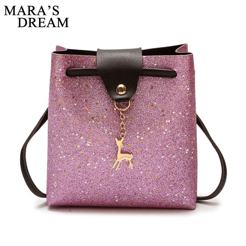 Mara's Dream 2018 Female Bags PU Leather Soft Women Bag Shoulder Messenger Bag Pendant Cute Deer Toy Girls Mini Bag Sac A Main
