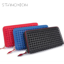 New Design Women Fighting Rivets Wallets Genuine Leather Purse Europe And America Fashion Clutch Wallet Card Bags 3 Colors fashion style women s clutch with rivets and pu leather design