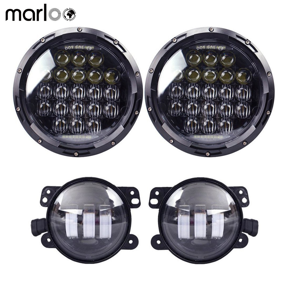 Marloo For Jeep Wrangler JK Accessories DOT Headlights Set 126W 5D 7 Round Daymaker LED Headlights With 4 Inch LED Fog Lights