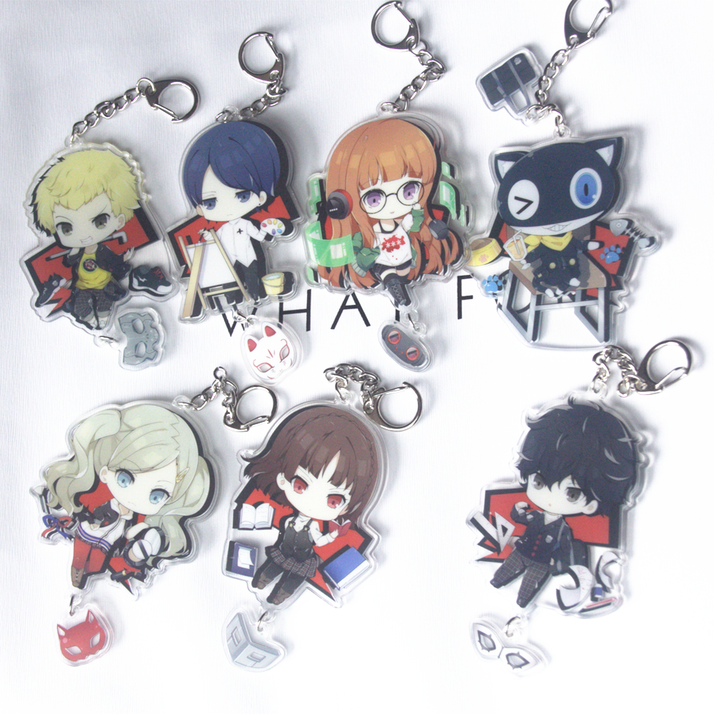 Game Persona 5 Anime P5 Akira Kurusu Anne Takamaki Two Sided Big Size Acrylic Keyring Keychain Key chain image
