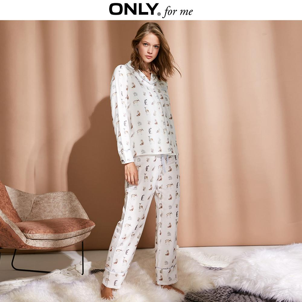 ONLY Women's 100% Cotton Printed Lace up Pyjama Trousers |118414505