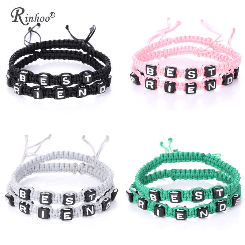 RINHOO 2pcs Couples Bracelet Set Friendship Bracelet Set BEST FRIENDS Handmade Bracelet Set Infinity Jewelry for Women Men