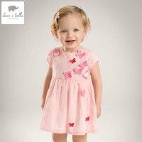 DB5067 dave bella bebê menina do verão vestido de princesa borboleta apliques vestido vestido de casamento do bebê do aniversário dos miúdos roupa bonito vestido