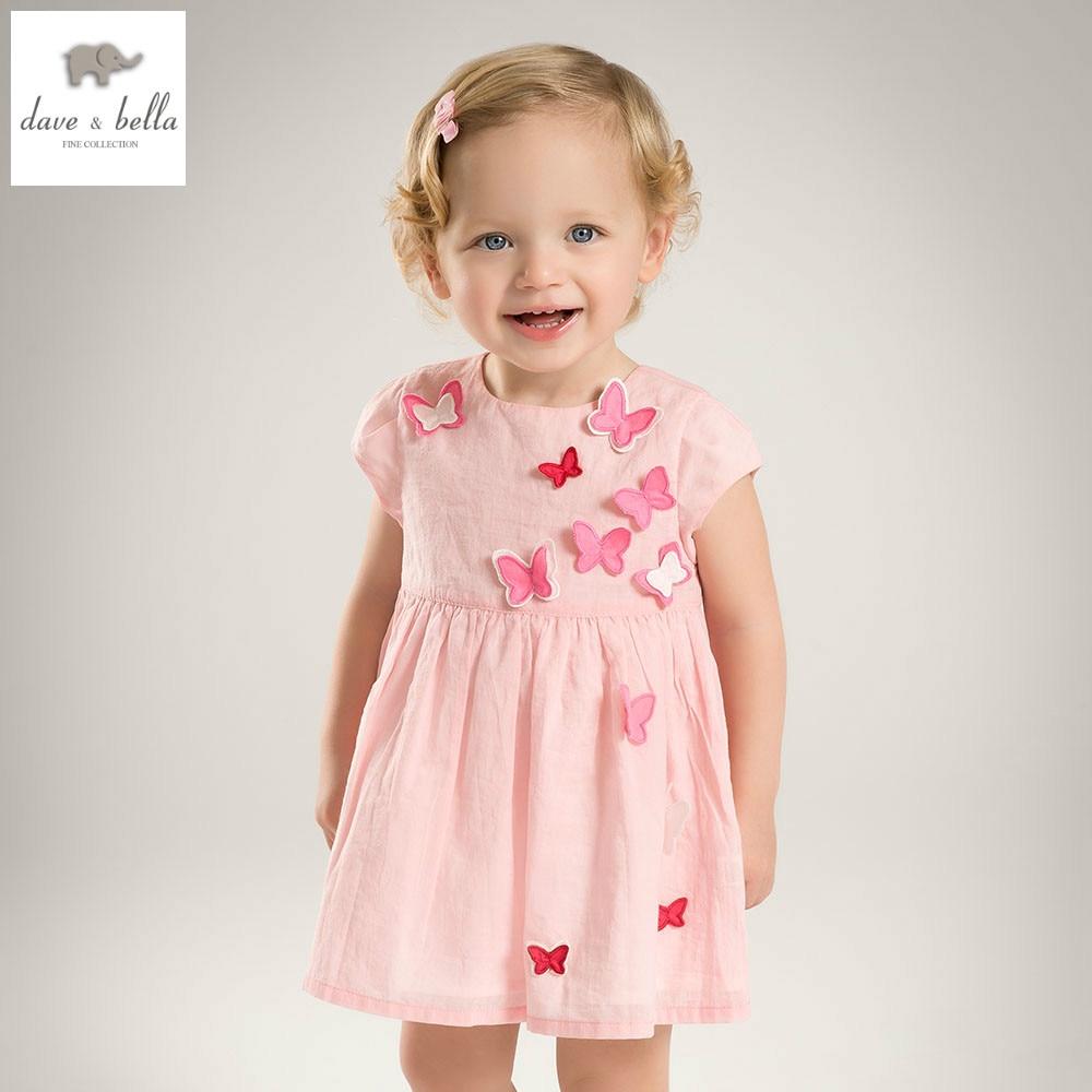 DB5067 dave bella summer baby girl princess dress butterfly appliques dress baby wedding dress kids birthday cute clothes dress