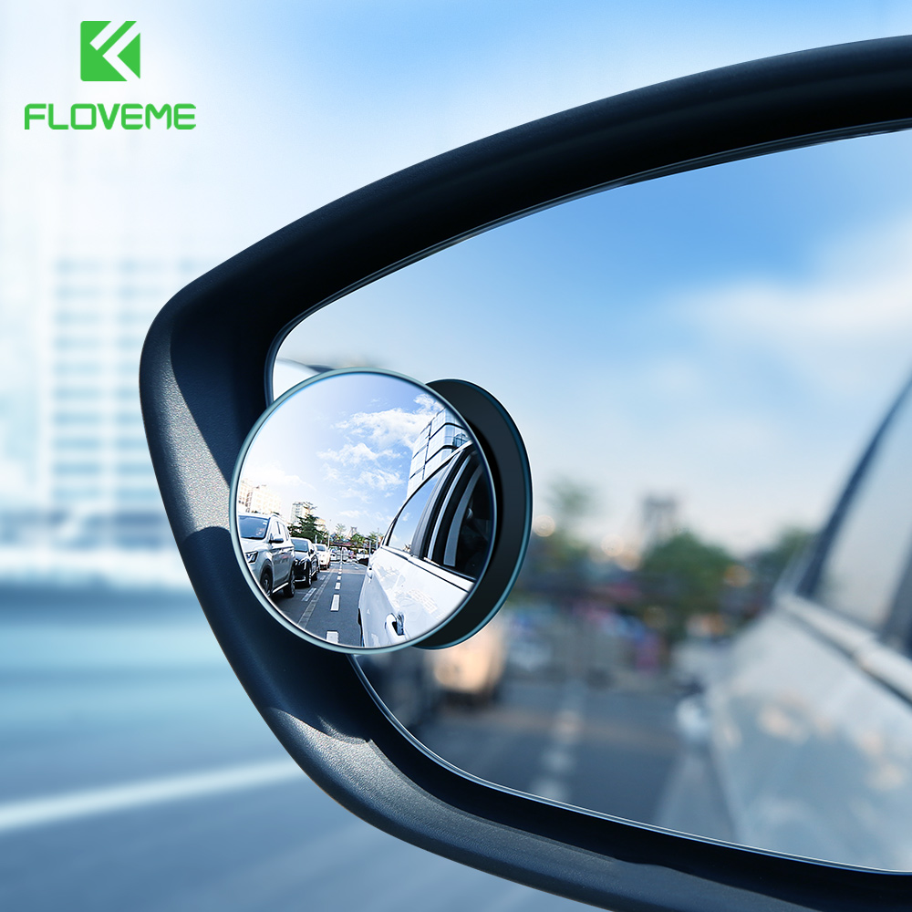 FLOVEME 2Pcs HD RearView Mirror For Car 360 Degree Coach Mirrors Wide Angle Automobile Blind Spot Rimless Phone Holder