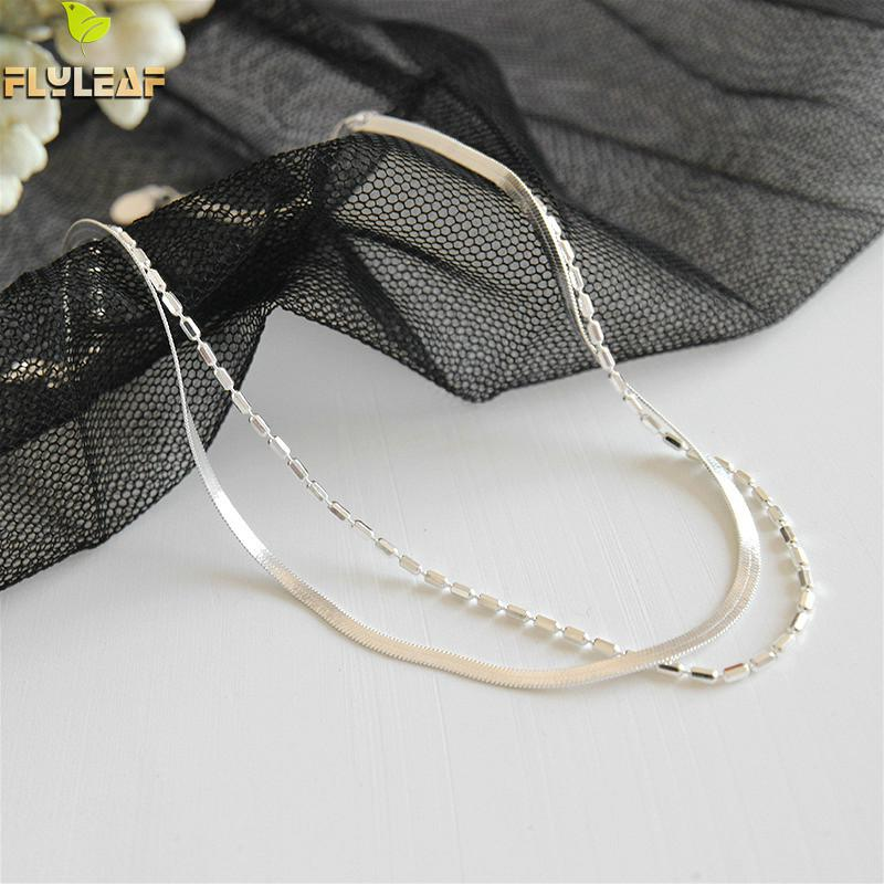 Flyleaf 925 Sterling Silver Anklets For Women Simple Double Layer Fashion Chain Personality Ankle Leg Fine Jewelry Enkelbandje