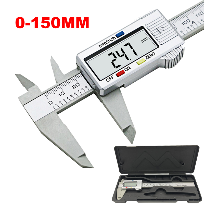 Neue 6 zoll LCD 150mm Digitale Elektronische Carbon Faser Messschieber Mikrometer Modell Digitale Messschieber werkzeug