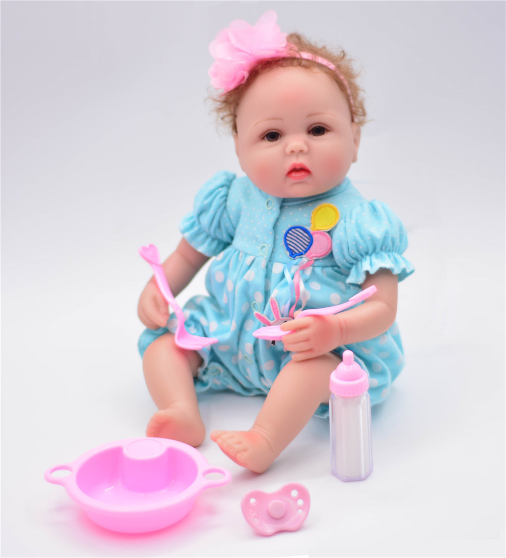 soft Non-toxic Bebe Reborn Girl Dolls Alive Silicone Sweet Princess Bonece Toys With blue clothes Kids Birthday Gift Child Toys