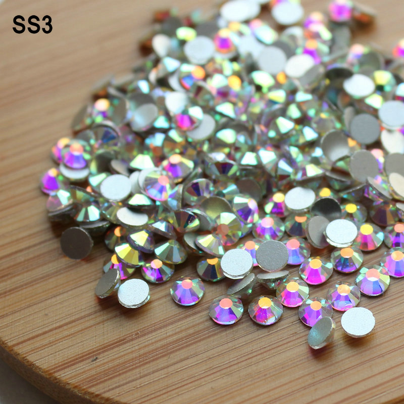 Hot Sale! SS3 (1.3-1.5mm) 1440st / väska Crystal AB Non Hot Fix Flatback Rhinestones Lim-on Crystal Nail Art Sten för mode DIY