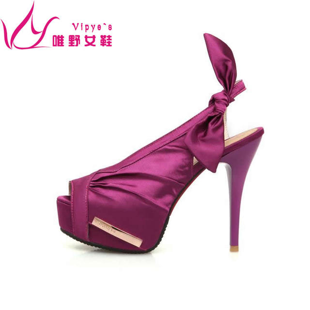 1356e4814549 Fashion satin cloth purple straps high-heeled shoes pink open toe sandals  thin thick heels platform women s shoes