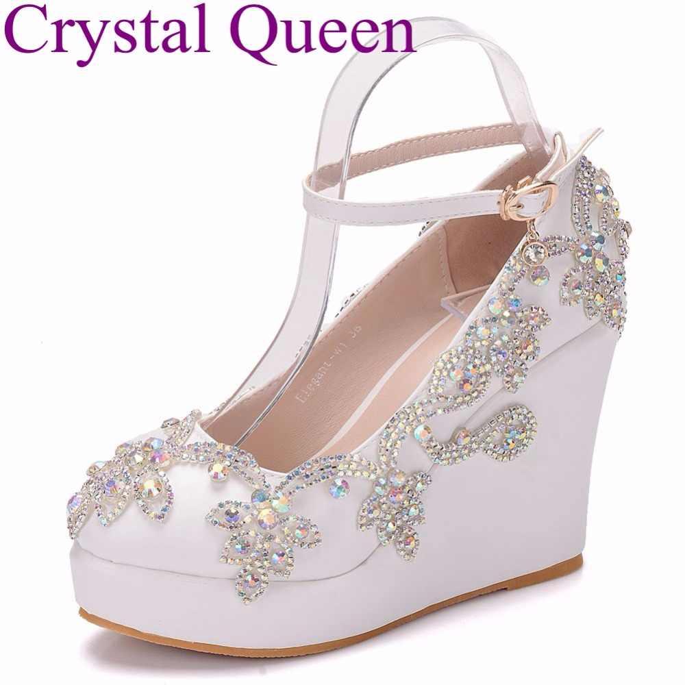 Crystal Queen Rhinestone wedges pumps heels wedding shoes women white  platform pu leather high heels wedding 9a9e63b86f4b