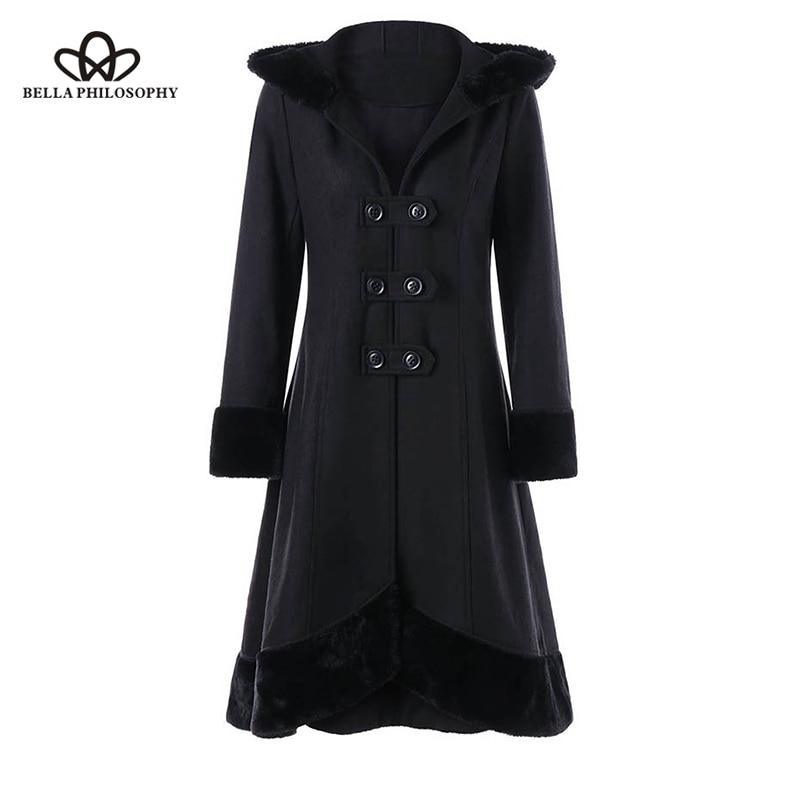 Women Gothic Winter Coat Long Lace Up Bandage Ribbon Bow Wool Blends Coats Flocking Fur Christmas Black Vintage Hooded Overcoat