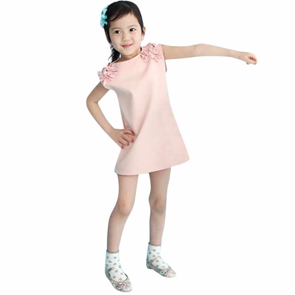 Criança Crianças Bebê Menina Floral Vestido Sólidos Casual Vestido de Festa Da Princesa Vestido de Verão Vestir Roupas da moda marca erkek giyim bebek