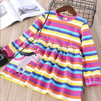 Everweekend Girls Horse Appliques Ruffles Dress Cute Baby Rainbow Striped Clothes Princess Korean Fashion Spring Holiday