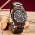 Uwood Fashion Man Japan Quartz Watch 100% Eco-friendly Unisex Black Pure Sandalwood Wooden Wristwatch For Lovers Gift