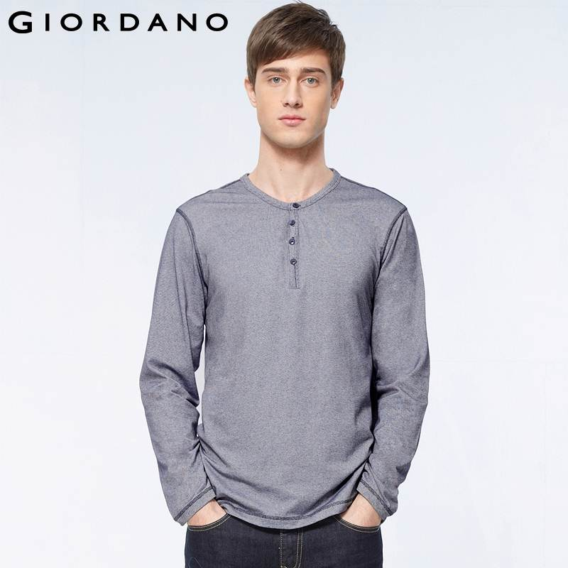 Giordano men famous brand t shirt casual long sleeve for Mens xl tall henley shirts