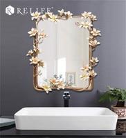 New Magnolia Rectangle Wall Mirror Home Decor Creative Mirrors for Family Decoration