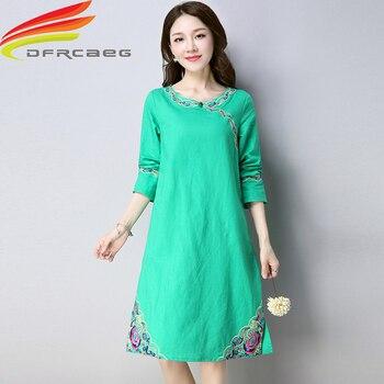 12c5e6ce1b53 Vestido de verano 2019 Retro chino vestido ropa para mujeres algodón y lino  verde Oficina señora una línea bordado vestido